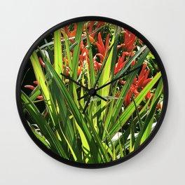 Firecracker Red Flowers Nestled In Lavish Leaves Wall Clock