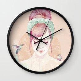 Pink hair lady Wall Clock