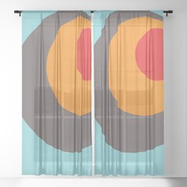 Brighid - Classic Colorful Abstract Minimal Retro 70s Style Dots Design Sheer Curtain