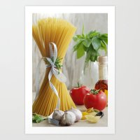 pasta Art Prints featuring delicious pasta by Tanja Riedel