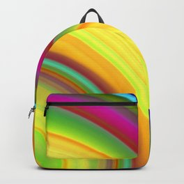 Juicy curved semicircles with a crisp yellow accent and all the colors of the rainbow.  Backpack