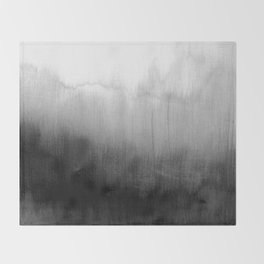 Modern Black and White Watercolor Gradient Throw Blanket