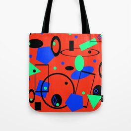 Retro abstract red print Tote Bag