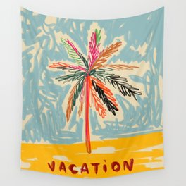 VACATION PALM TREE Wall Tapestry