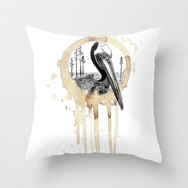 Coffee Stained Brown Pelican-Louisiana Series Throw Pillow