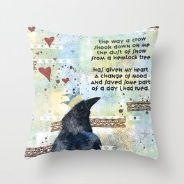 """""""Dust of Snow"""" Crow Throw Pillow"""