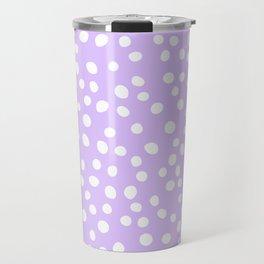 Lavender purple and white doodle dots Travel Mug