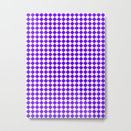 Small Diamonds - White and Indigo Violet Metal Print