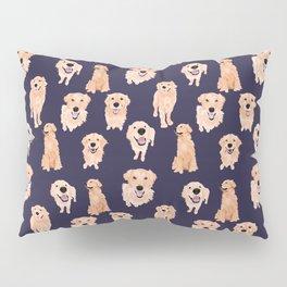 Golden Retrievers on Navy Pillow Sham