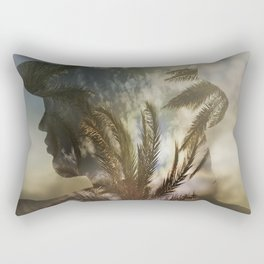 Woman and beach palm trees multiple exposure Rectangular Pillow
