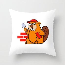 A beaver cartoon building brick wall Throw Pillow
