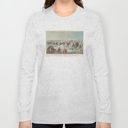 Vintage Central Park Ice Skating Painting (1861) Long Sleeve T-shirt