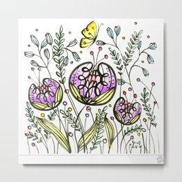 Flowers by Doodling Metal Print