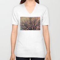 stripe V-neck T-shirts featuring Stripe Resistance by Julie Maxwell