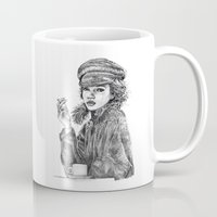 kate moss Mugs featuring Kate Moss by Anja-Catharina