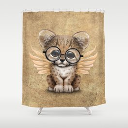 Cheetah Cub with Fairy Wings Wearing Glasses Shower Curtain