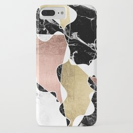 Modern white black marble rose gold foil color block handdrawn geometric lines iPhone Case