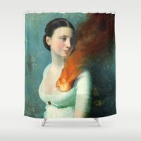 girls Shower Curtains featuring Portrait of a Heart  by Christian Schloe