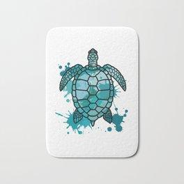 Colored Sea Turtle | Artistic Paint Splotches Bath Mat