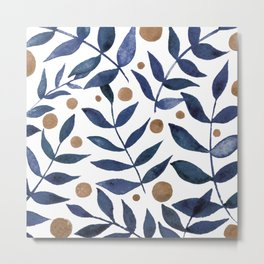 Watercolor berries and branches - indigo and beige Metal Print