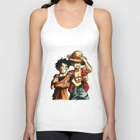 luffy Tank Tops featuring Monkey D. Luffy and Son Goku by The Big Duo