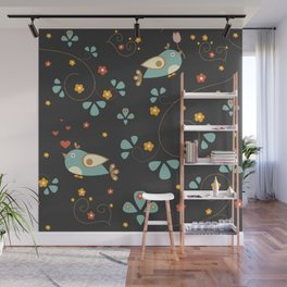 Bird Seamless Pattern. Bullfinch birds  Wall Mural