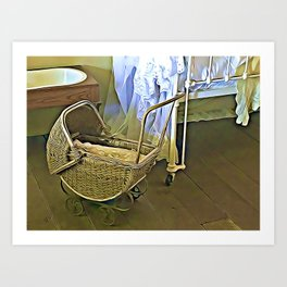 Once Upon a Time - Pram in the Nursery Art Print