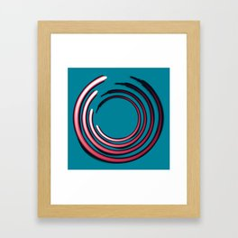 Rough red circles over blue Framed Art Print