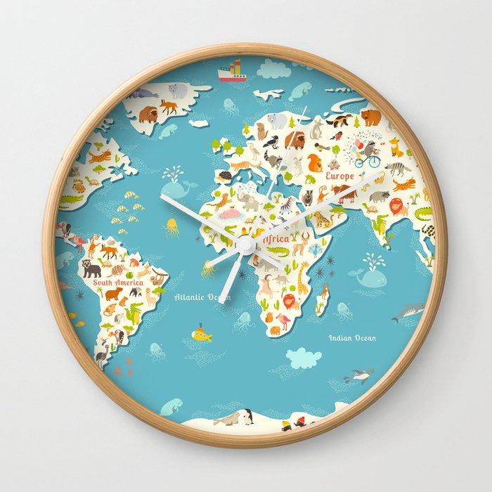 Animals World Map Beautiful Cheerful Colorful Vector Illustration