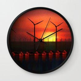 Boats at Sunset (Digital Art) Wall Clock
