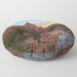 The Watchman Sunset Zion National Park Mountain Landscape Floor Pillow