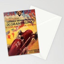 1948 Vintage Barcelona Car Racing Motor Sport Penya Rhin Grand Prix Gran Premio Advertisement Poster Stationery Cards