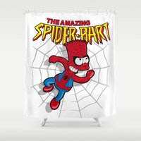 simpson Shower Curtains featuring Spiderbart: the Simpsons superheroes (Bart Simpson meets spider-man)  by logoloco