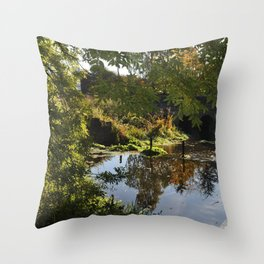 River by the mill  Throw Pillow