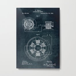 1896 Alternating motor by Nikola Tesla Metal Print