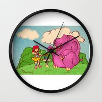 hippo Wall Clocks featuring Hippo by Rafael Paschoal