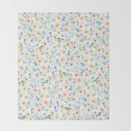 Peachy Watercolor Pattern Throw Blanket