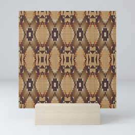 Khaki Tan Orange Dark Brown Native American Indian Mosaic Pattern Mini Art Print