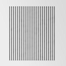 Black Pinstripe On White Pattern Throw Blanket