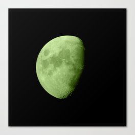 4K Dark Side of the Moon Lime Green Canvas Print