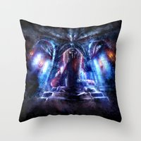 castlevania Throw Pillows featuring Castlevania: Vampire Variations- Dracula by LightningArts