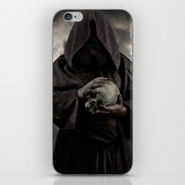Holding a male skull iPhone Skin