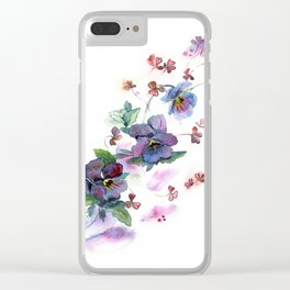 Watercolor hand painted pansies in gentle tone. Clear iPhone Case