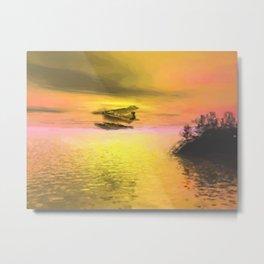 Seaplane Flight at Sunset Metal Print