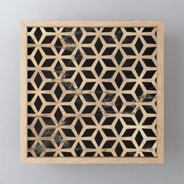 Pattern Formes Doré/Noir Framed Mini Art Print