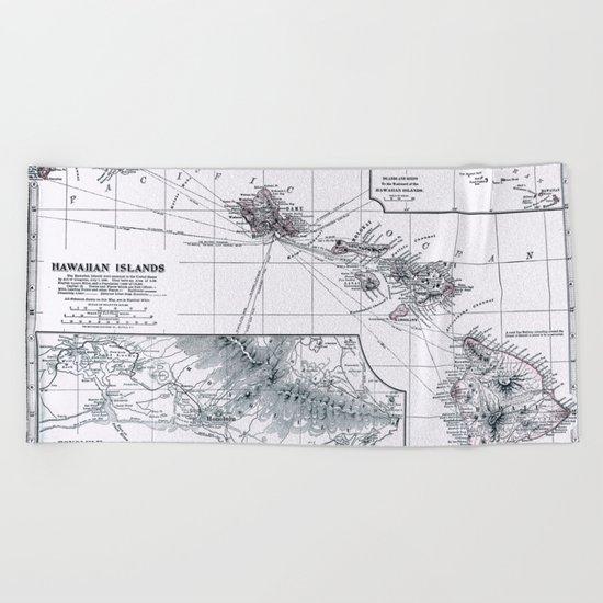 Vintage Hawaii Map 1899 Beach Towel
