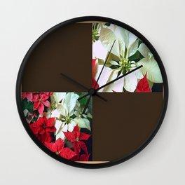 Mixed color Poinsettias 1 Blank Q3F0 Wall Clock