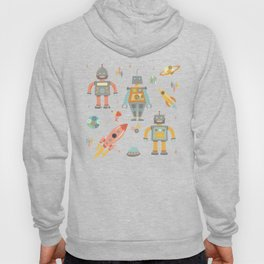 Vintage Inspired Robots in Space Hoody