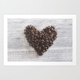 Coffee beans heart Art Print