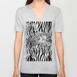 Vintage elegant black white floral zebra animal print collage Unisex V-Neck